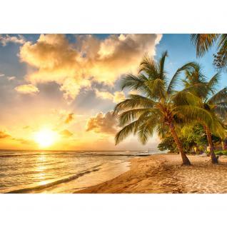 liwwing Vlies Fototapete 350x245 cm PREMIUM PLUS Wand Foto Tapete Wand Bild Vliestapete - DREAM BEACH - Strand Meer Sonnenaufgang Beach Wasser Blau Himmel Sonne Sommer - no. 042 - Vorschau 2