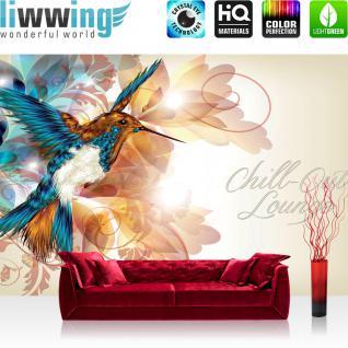 liwwing Fototapete 254x168 cm PREMIUM Wand Foto Tapete Wand Bild Papiertapete - Wellness Tapete Kolibri Vogel Schlingen Blüten Lounge beige - no. 2189