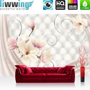 liwwing Vlies Fototapete 350x245 cm PREMIUM PLUS Wand Foto Tapete Wand Bild Vliestapete - Blumen Tapete Blumen Blüten Diamant Schnörkel Tuch Schwung weiß - no. 951