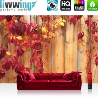 liwwing Vlies Fototapete 300x210 cm PREMIUM PLUS Wand Foto Tapete Wand Bild Vliestapete - Holz Tapete Holzwand Holzoptik Blätter Herbst Natur rot - no. 532
