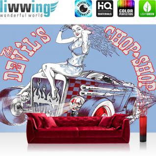 liwwing Vlies Fototapete 208x146cm PREMIUM PLUS Wand Foto Tapete Wand Bild Vliestapete - Illustrationen Tapete Auto Frau Vintage blau - no. 1205