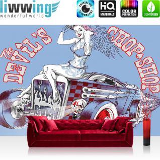 liwwing Vlies Fototapete 312x219cm PREMIUM PLUS Wand Foto Tapete Wand Bild Vliestapete - Illustrationen Tapete Auto Frau Vintage blau - no. 1205