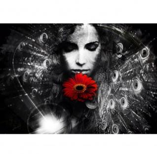Fototapete Kunst Tapete Abstrakt Frau Blume Sonnenblume Federn schwarz - weiß | no. 2283