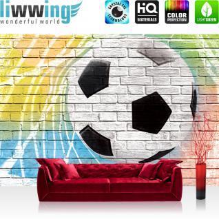 liwwing Vlies Fototapete 152.5x104cm PREMIUM PLUS Wand Foto Tapete Wand Bild Vliestapete - Fußball Tapete Fussball Steinmauer Steine bunt - no. 1356
