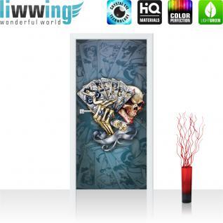 liwwing Türtapete selbstklebend 91x211 cm PREMIUM PLUS Tür Fototapete Türposter Türpanel Foto Tapete Bild - Totenkopf Würfel Karten Glücksspiel - no. 326