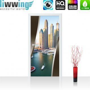 liwwing Vlies Türtapete 91x211 cm PREMIUM PLUS Tür Fototapete Türposter Türpanel Foto Tapete Bild - Skyline Hafen Tower Hafen - no. 623