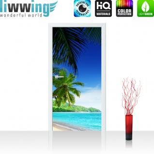 liwwing Türtapete selbstklebend 100x211 cm PREMIUM PLUS Tür Fototapete Türposter Türpanel Foto Tapete Bild - PARADISE BEACH - Strand Meer Palmen Beach 3D Ozean Palme - no. 005
