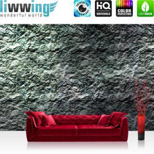 liwwing Fototapete 368x254 cm PREMIUM Wand Foto Tapete Wand Bild Papiertapete - Kunst Tapete Abstrakt Knitter Falten Design Muster Papier grau - no. 2341