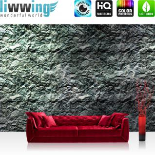 liwwing Vlies Fototapete 104x50.5cm PREMIUM PLUS Wand Foto Tapete Wand Bild Vliestapete - Kunst Tapete Abstrakt Knitter Falten Design Muster Papier grau - no. 2341
