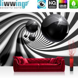 liwwing Vlies Fototapete 300x210 cm PREMIUM PLUS Wand Foto Tapete Wand Bild Vliestapete - 3D Tapete Abstrakt Tunnel Kugeln Murmel Spirale Streifen 3D grau - no. 896