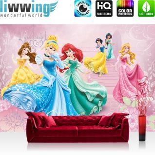 liwwing Fototapete 368x254 cm PREMIUM Wand Foto Tapete Wand Bild Papiertapete - Disney Tapete Disney - Cinderella Schneewittchen Arielle Kindertapete Prinzessinnen rosa - no. 1080