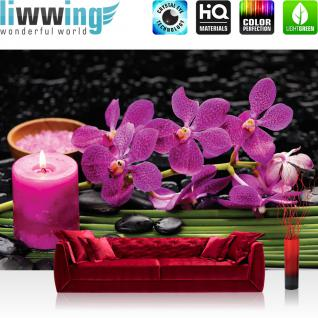 liwwing Vlies Fototapete 416x254cm PREMIUM PLUS Wand Foto Tapete Wand Bild Vliestapete - Wellness Tapete Blumen Blüten Blätter Steine Kerze lila - no. 2542