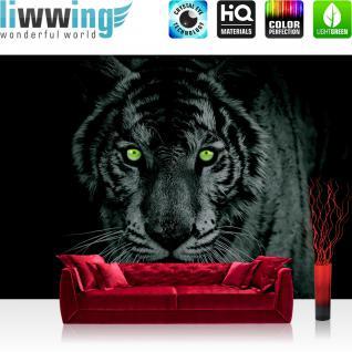 liwwing Vlies Fototapete 416x254cm PREMIUM PLUS Wand Foto Tapete Wand Bild Vliestapete - Tiere Tapete Tiger Gesicht Auge schwarz weiß - no. 425