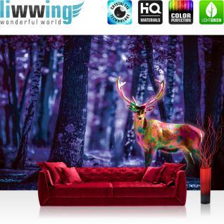 liwwing Vlies Fototapete 416x254cm PREMIUM PLUS Wand Foto Tapete Wand Bild Vliestapete - Tiere Tapete Hirsch Geweih Wald Natur bunt - no. 1282