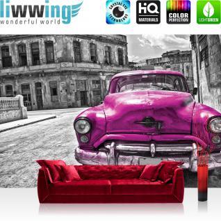 liwwing Fototapete 368x254 cm PREMIUM Wand Foto Tapete Wand Bild Papiertapete - Autos Tapete Oldtimer Auto Kuba Havanna Ölfarbe schwarz weiß - no. 2888
