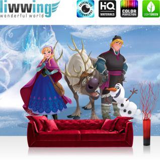 liwwing Fototapete 254x168 cm PREMIUM Wand Foto Tapete Wand Bild Papiertapete - Disney Tapete Disney - Frozen Eiskönigin - Anna Olaf Kindertapete Cartoon Prinzessin blau - no. 1124