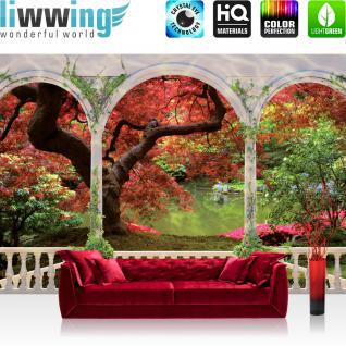 liwwing Vlies Fototapete 312x219cm PREMIUM PLUS Wand Foto Tapete Wand Bild Vliestapete - Pflanzen Tapete Terrasse Wasser See Blumen Park Bäume Ranken Säulen rot - no. 2086