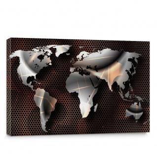 Leinwandbild Imitation Weltkarte Landkarte Kontinenten industriell modern Metall Stahl   no. 4320