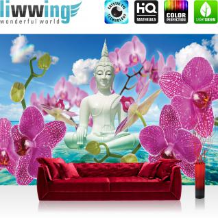 liwwing Vlies Fototapete 300x210 cm PREMIUM PLUS Wand Foto Tapete Wand Bild Vliestapete - Orchideen Tapete Buddah Orchidee Wolke Wasser Himmel Blüte blau - no. 589