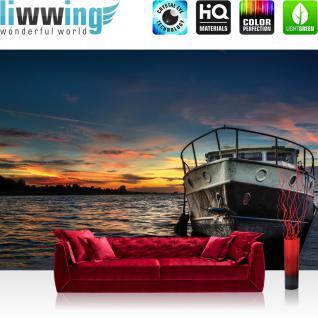 liwwing Vlies Fototapete 208x146cm PREMIUM PLUS Wand Foto Tapete Wand Bild Vliestapete - Meer Tapete Abendhimmel Sonnenaufgang See Boot natural - no. 3362