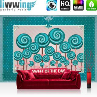 liwwing Vlies Fototapete 416x254cm PREMIUM PLUS Wand Foto Tapete Wand Bild Vliestapete - Speisen Tapete Lollypop Illustration Ornamente türkis - no. 1246