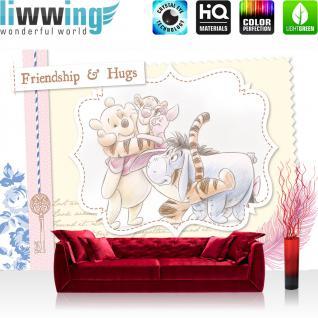 liwwing Fototapete 368x254 cm PREMIUM Wand Foto Tapete Wand Bild Papiertapete - Disney Tapete Disney - Winnie Pooh - Tigger I-Aah Ferkel Kindertapete Cartoon Freunde Schlüssel gelb - no. 405