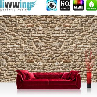 liwwing Vlies Fototapete 104x50.5cm PREMIUM PLUS Wand Foto Tapete Wand Bild Vliestapete - Steinwand Tapete Stein Steinoptik Steine Wand Wall Steintapete beige - no. 1693