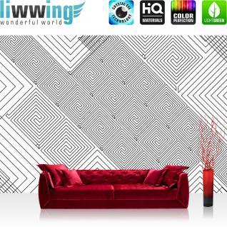 liwwing Vlies Fototapete 350x245 cm PREMIUM PLUS Wand Foto Tapete Wand Bild Vliestapete - Illustrationen Tapete Abstrakt Ornamente Pyramide Muster schwarz - weiß - no. 401