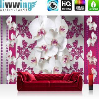 liwwing Vlies Fototapete 400x280 cm PREMIUM PLUS Wand Foto Tapete Wand Bild Vliestapete - Orchideen Tapete Blüten Pflanze pink Ornamente Illustrationen weiß Blumen pink - no. 320