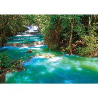 Fototapete Wasser Tapete Fluss Wasserfall Bäume Wald türkis   no. 2502