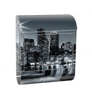 Edelstahl Wandbriefkasten XXL mit Motiv & Zeitungsrolle   Laterne Nacht New York Skyline Lichter Fluss   no. 0843
