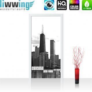 liwwing Türtapete selbstklebend 91x211 cm PREMIUM PLUS Tür Fototapete Türposter Türpanel Foto Tapete Bild - Chicago New York Las Vegas Skyline - no. 281