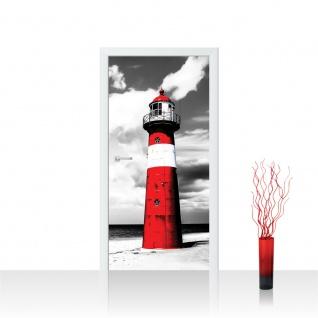 Türtapete - Leuchtturm Strand Wolken   no. 542
