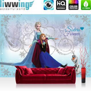liwwing Vlies Fototapete 312x219cm PREMIUM PLUS Wand Foto Tapete Wand Bild Vliestapete - Disney Tapete Die Eiskönigin Frozen Kindertapete Cartoon Elsa Anna Olaf blau - no. 2359
