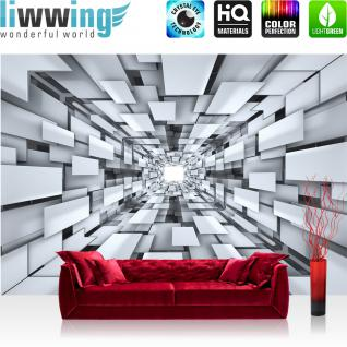 liwwing Vlies Fototapete 152.5x104cm PREMIUM PLUS Wand Foto Tapete Wand Bild Vliestapete - 3D Tapete Abstrakt Muster Rechtecke Formen schwarz weiß - no. 2398