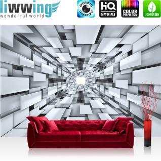 liwwing Vlies Fototapete 416x254cm PREMIUM PLUS Wand Foto Tapete Wand Bild Vliestapete - 3D Tapete Abstrakt Muster Rechtecke Formen schwarz weiß - no. 2398 - Vorschau 1