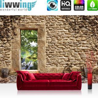 liwwing Fototapete 254x184cm PREMIUM Wand Foto Tapete Wand Bild Papiertapete - Steinwand Tapete Naturstein Feldstein Sandstein mediterran natural - no. 3346