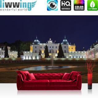 liwwing Vlies Fototapete 312x219cm PREMIUM PLUS Wand Foto Tapete Wand Bild Vliestapete - Architektur Tapete Schloss Park Statuen Residenz Nacht Architektur blau - no. 2818