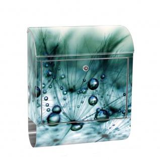 Edelstahl Wandbriefkasten XXL mit Motiv & Zeitungsrolle | Garten Terrasse Blumenranken 3D Perspektive | no. 0047
