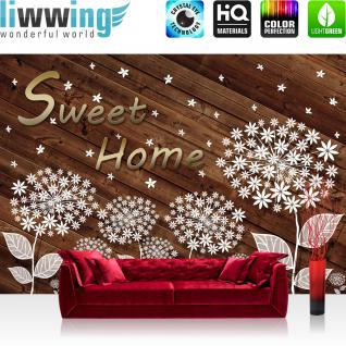 liwwing Vlies Fototapete 416x254cm PREMIUM PLUS Wand Foto Tapete Wand Bild Vliestapete - Holz Tapete Pusteblume Illustration braun - no. 3149