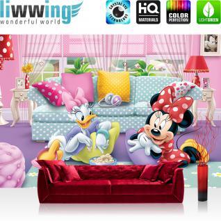liwwing Fototapete 368x254 cm PREMIUM Wand Foto Tapete Wand Bild Papiertapete - Mädchen Tapete Disney Micky Maus Disney Minnie & Me Kindertapete Daisy pink - no. 2599