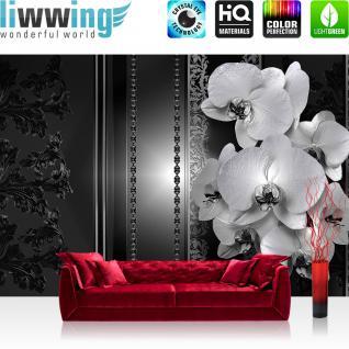 liwwing Fototapete 254x168 cm PREMIUM Wand Foto Tapete Wand Bild Papiertapete - Orchideen Tapete Blumen Blüten Orchideen Perlen Kunst schwarz weiß - no. 2636