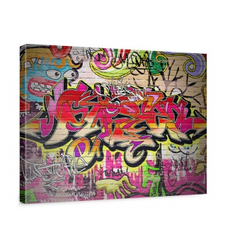 Leinwandbild Kinderzimmer Graffiti Streetart Graffitti Sprayer 3D bunt   no. 220