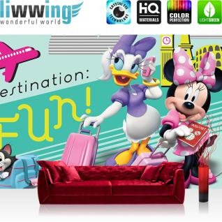 liwwing Vlies Fototapete 416x254cm PREMIUM PLUS Wand Foto Tapete Wand Bild Vliestapete - Disney Tapete Mickey Mouse Minnie (Daisy Duck) Kindertapete Maus Flugzeug bunt - no. 1484