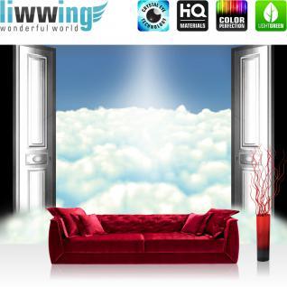 liwwing Vlies Fototapete 312x219cm PREMIUM PLUS Wand Foto Tapete Wand Bild Vliestapete - Himmel Tapete Wolken Himmel Tür Sonne Licht blau - no. 2362