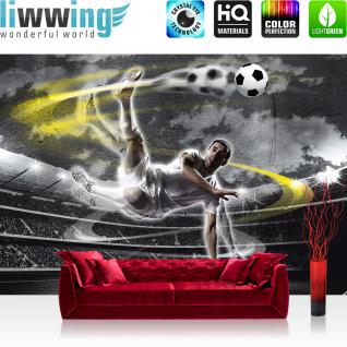 liwwing Fototapete 368x254 cm PREMIUM Wand Foto Tapete Wand Bild Papiertapete - Kunst Tapete Streifen Nebel Bewegung Schwung Licht Strahlen schwarz - no. 1353