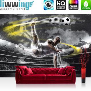 liwwing Vlies Fototapete 416x254cm PREMIUM PLUS Wand Foto Tapete Wand Bild Vliestapete - Fußball Tapete Fussball Stadion Mann Spieler schwarz weiß - no. 1353