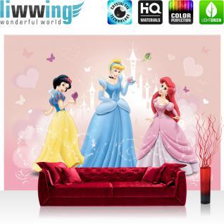 liwwing Vlies Fototapete 416x254cm PREMIUM PLUS Wand Foto Tapete Wand Bild Vliestapete - Disney Tapete Cinderella Schneewittchen Arielle Jasmine Aurora bunt - no. 1299