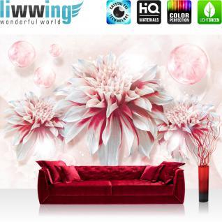 liwwing Vlies Fototapete 416x254cm PREMIUM PLUS Wand Foto Tapete Wand Bild Vliestapete - Blumen Tapete Blüten Blätter Blasen Kunst rosa - no. 2682