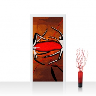 Türtapete - Ornamnete Abstrakt Rot Braun Hintergrund | no. 217